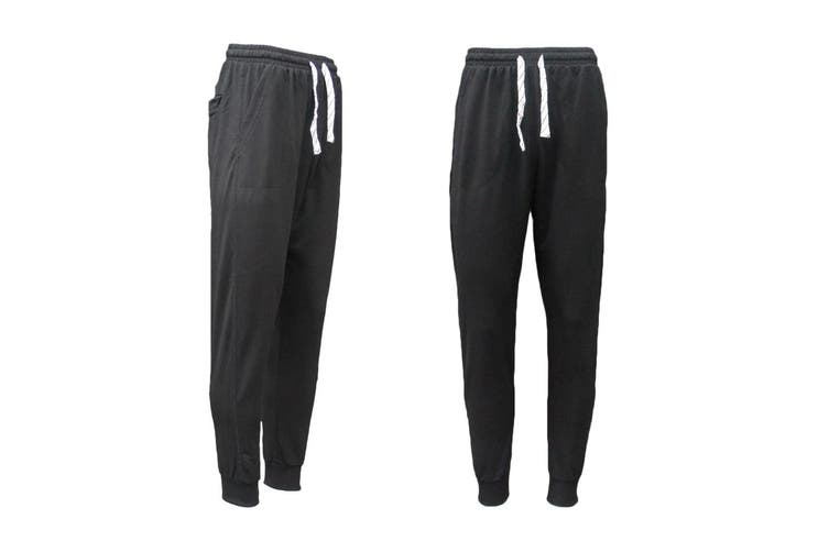 New Men's Slim Cuffed Hem Trousers Plain Track Sweat Pants Suit Gym Casual Sport - Black (Size:XS)