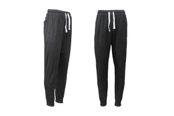 New Men's Slim Cuffed Hem Trousers Plain Track Sweat Pants Suit Gym Casual Sport - Black - Black