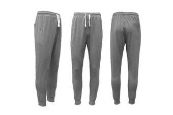 New Men's Slim Cuffed Hem Trousers Plain Track Sweat Pants Suit Gym Casual Sport - Dark Grey (Size:M)