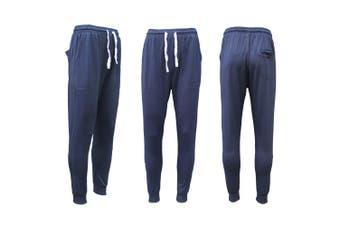 New Men's Slim Cuffed Hem Trousers Plain Track Sweat Pants Suit Gym Casual Sport - Navy (Size:L)