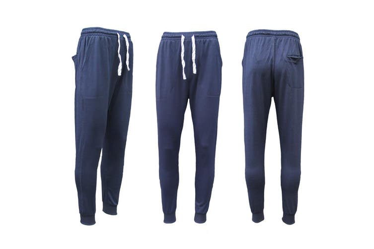 New Men's Slim Cuffed Hem Trousers Plain Track Sweat Pants Suit Gym Casual Sport - Navy (Size:2XL)
