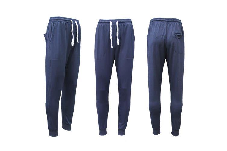 New Men's Slim Cuffed Hem Trousers Plain Track Sweat Pants Suit Gym Casual Sport - Navy (Size:XS)