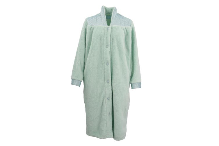 Women's Ladies Supersoft Button Up Dressing Gown Bath Robe w Quilted Panel Warm - Mint (Size:S)