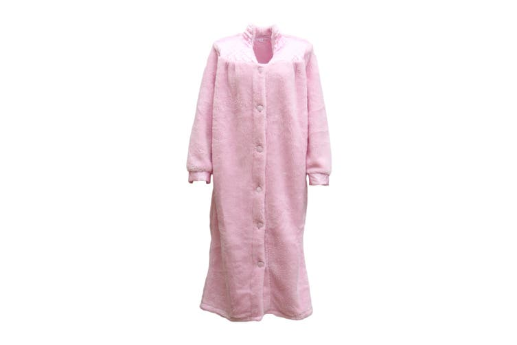 Women's Ladies Supersoft Button Up Dressing Gown Bath Robe w Quilted Panel Warm - Light Pink (Size:S)