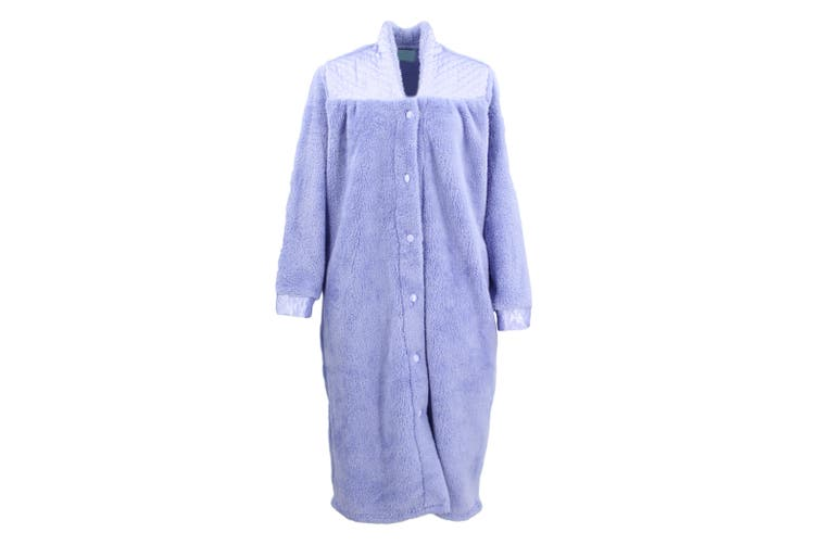 Women's Ladies Supersoft Button Up Dressing Gown Bath Robe w Quilted Panel Warm - Lavendar (Size:M)