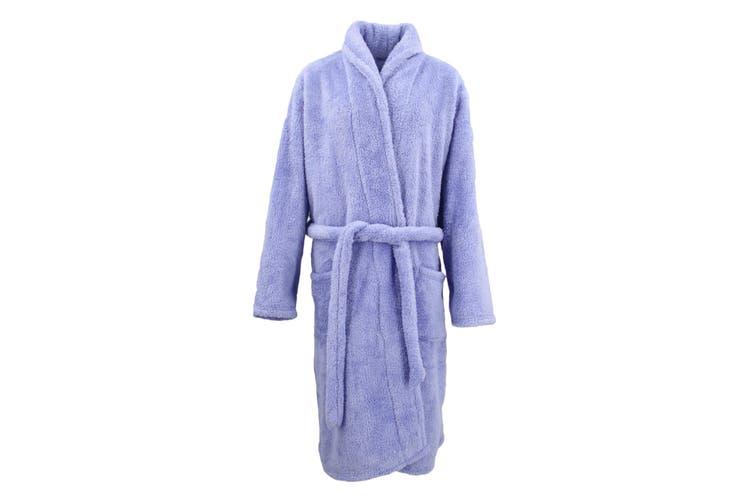 New Men's Women's Supersoft Luxurious Coral Fleece Bath Robe Dressing Gown Warm - Lavendar (Size:Women's L/XL)