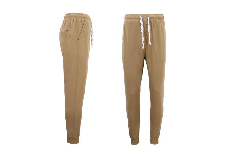New Men's Slim Cuffed Hem Trousers Plain Track Sweat Pants Suit Gym Casual Sport - Khaki (Size:XL)