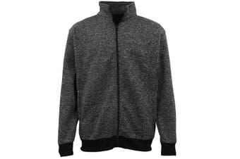 Adult Unisex Plain Fleece Lined Full Zip Up Jumper Jacket Men's Sweatshirt Coat - Black