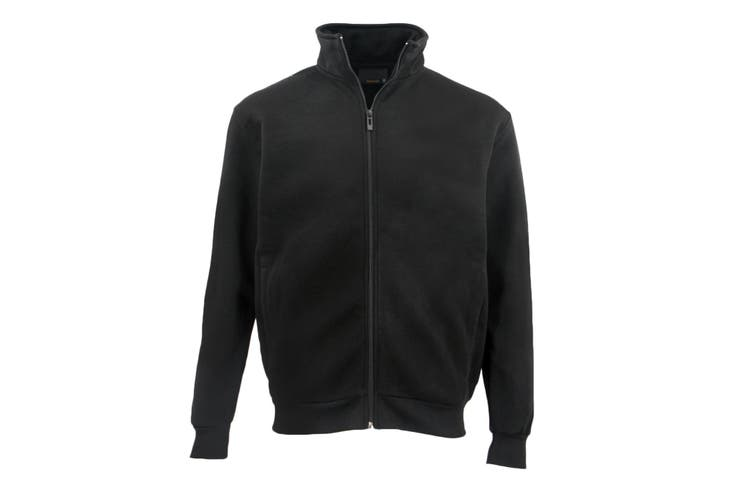 Adult Unisex Plain Fleece Lined Full Zip Up Jumper Jacket Men's Sweatshirt Coat - Black (Size:L)