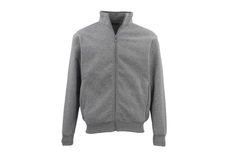Adult Unisex Plain Fleece Lined Full Zip Up Jumper Jacket Men's Sweatshirt Coat - Light Grey (Size:L)