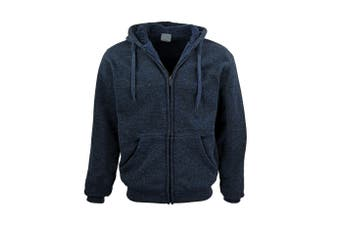 Men's Thick Zip Up Hooded Hoodie w Winter Sherpa Fur Jumper Coat Jacket Sweater - Navy - Navy