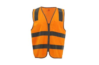 Hi Vis Safety Zip Vest w Refelective Tape Pocket Night Cool Dry Workwear Jacket - Orange - Orange
