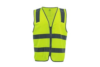 Hi Vis Safety Zip Vest w Refelective Tape Pocket Night Cool Dry Workwear Jacket - Yellow - Yellow