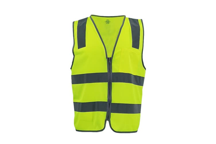 Hi Vis Safety Zip Vest w Refelective Tape Pocket Night Cool Dry Workwear Jacket - Yellow (Size:S)