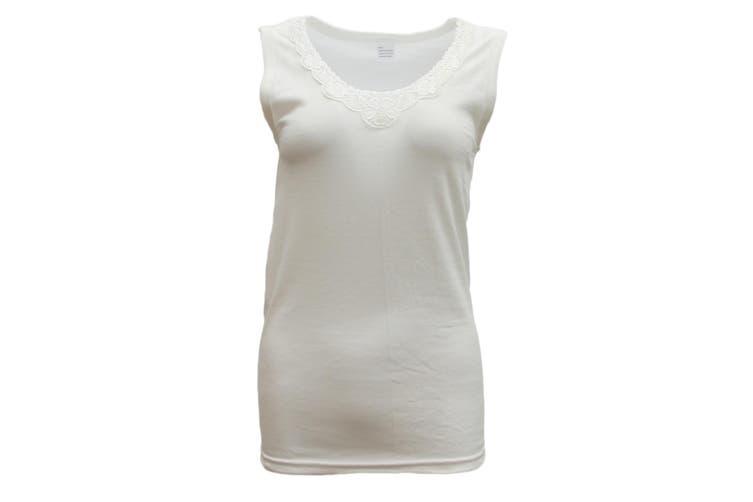 Mens Womens Merino Wool Top Pants Thermal Leggings Long Johns Underwear Pajamas - Women's Singlet - Beige (Size:16-18)