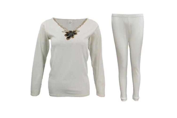 Mens Womens 2PCS SET Merino Wool Top Pants Thermal Leggings Long Johns Underwear - Women's Flora Set - Beige (Size:14-16)