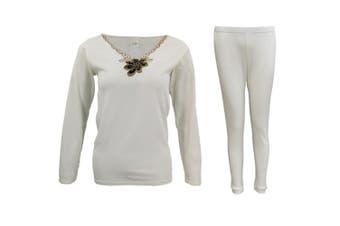 Mens Womens 2PCS SET Merino Wool Top Pants Thermal Leggings Long Johns Underwear - Women's Flora Set - Beige (Size:16-18)