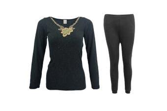 Mens Womens 2PCS SET Merino Wool Top Pants Thermal Leggings Long Johns Underwear - Women's Flora Set - Black (Size:12-14)