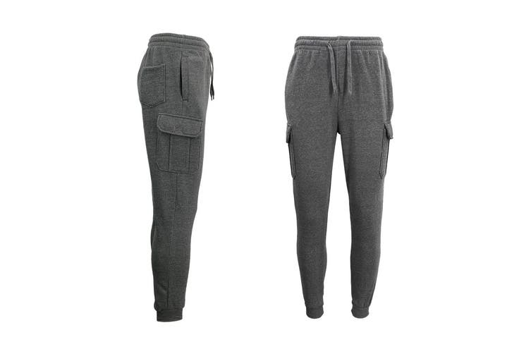 Men's Cargo Fleece Track Pants 5 Pockets Casual Trackies Trousers w Elastic Hem - Dark Grey (Size:S)