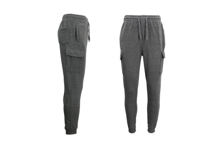 Men's Cargo Fleece Track Pants 5 Pockets Casual Trackies Trousers w Elastic Hem - Dark Grey (Size:XL)