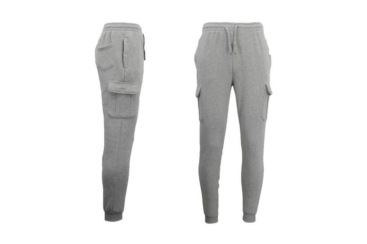 Men's Cargo Fleece Track Pants 5 Pockets Casual Trackies Trousers w Elastic Hem - Light Grey (Size:M)