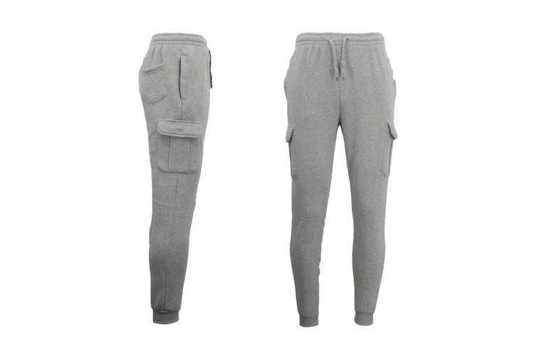 Men's Cargo Fleece Track Pants 5 Pockets Casual Trackies Trousers w Elastic Hem - Light Grey (Size:2XL)