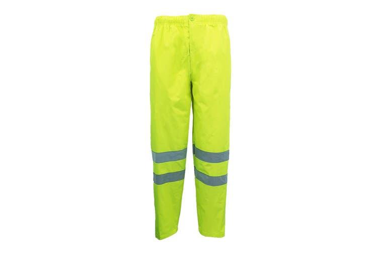 HI VIS Waterproof Pants 3M Reflective Tape Trousers Safety Work Wear Elastic Hem - Fluro Yellow (Size:L)