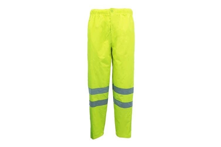 HI VIS Waterproof Pants 3M Reflective Tape Trousers Safety Work Wear Elastic Hem - Fluro Yellow (Size:2XL)