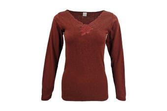 Women's Merino Wool Long Sleeve Top Thermals Floral Underwear Spencer Pajamas AU - Burgundy - Burgundy