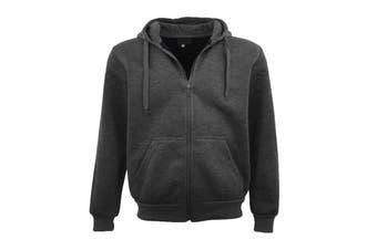 Adult Unisex Plain Fleece Hoodie Hooded Jacket Men's Zip Up Sweatshirt Jumper - Dark Grey - Dark Grey