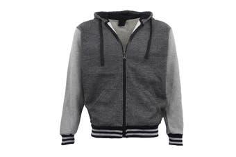 Mens Zip Up Fleece Lined Hoodie Winter Jacket Sweatshirt Gym Sport Casual Jumper - Black - Black