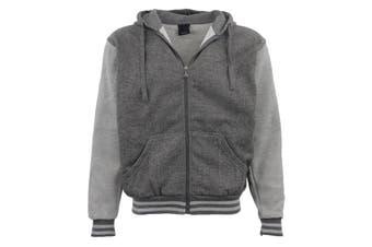 Mens Zip Up Fleece Lined Hoodie Winter Jacket Sweatshirt Gym Sport Casual Jumper - Grey - Grey