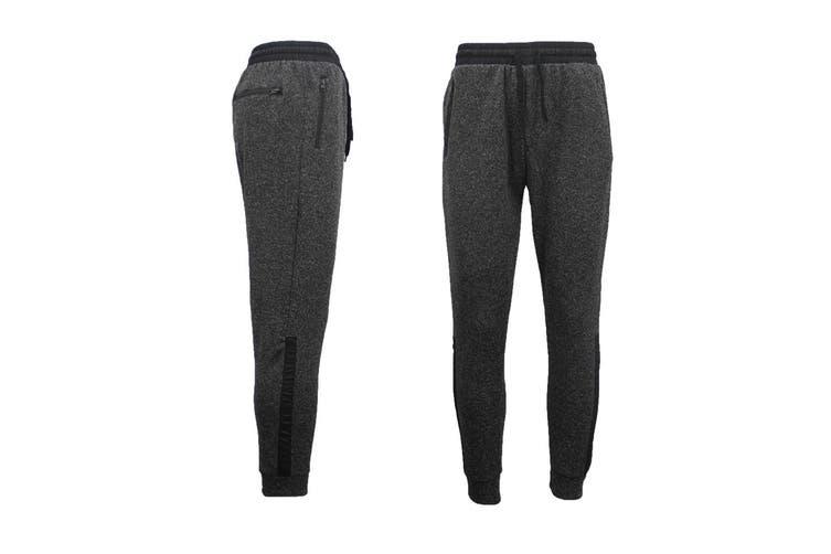 Mens Joggers Trousers Gym Sport Casual Sweat Track Pants Cuffed Hem w Zip Pocket - Black (Size:S)