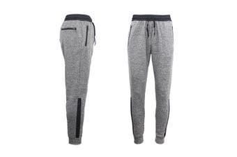 Mens Joggers Trousers Gym Sport Casual Sweat Track Pants Cuffed Hem w Zip Pocket - Light Grey - Light Grey