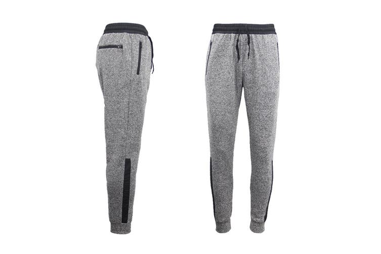 Mens Joggers Trousers Gym Sport Casual Sweat Track Pants Cuffed Hem w Zip Pocket - Light Grey (Size:S)