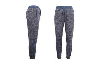 Mens Joggers Trousers Gym Sport Casual Sweat Track Pants Cuffed Hem w Zip Pocket - Navy (Size:XS)