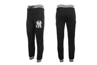 Mens Womens Unisex New York Yankees Fleece Lined Sport Joggers Sweat Track Pants - Black - Black