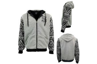 Men's Thick Faux Fur Zip Up Hood Fluffy Lined Jacket Jumper Sports Coat Bomber - Grey - Grey