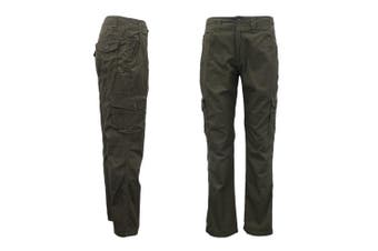 Men's Heavy Duty Cotton Drill Tactical Cargo Work Pants 6 Pockets Outdoor Camo - Dark Olive (Size:34)