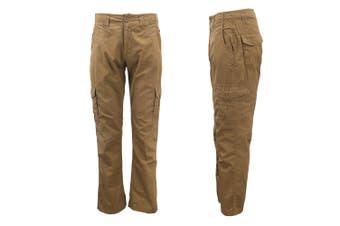 Men's Heavy Duty Cotton Drill Tactical Cargo Work Pants 6 Pockets Outdoor Camo - Khaki - Khaki