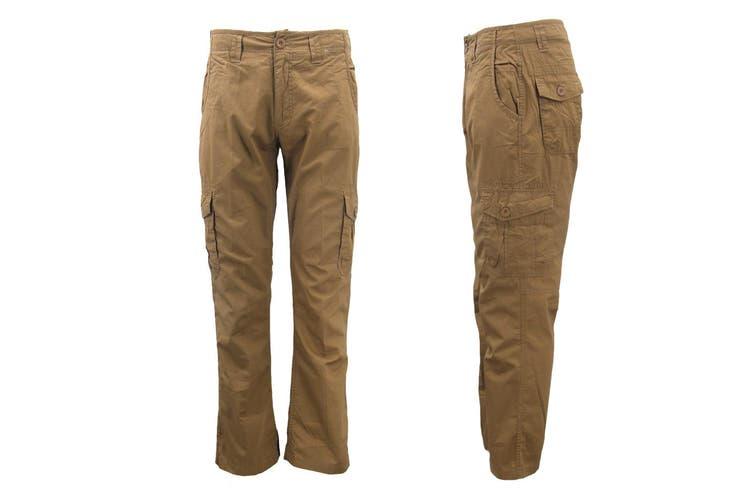 Men's Heavy Duty Cotton Drill Tactical Cargo Work Pants 6 Pockets Outdoor Camo - Khaki (Size:32)