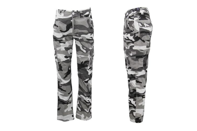 Men's Heavy Duty Cotton Drill Tactical Cargo Work Pants 6 Pockets Outdoor Camo - White Camouflage (Size:30)