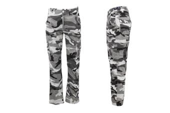 Men's Heavy Duty Cotton Drill Tactical Cargo Work Pants 6 Pockets Outdoor Camo - White Camouflage - White Camouflage