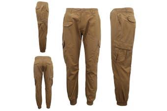 Men's Heavy Duty Cotton Drill 8 Pockets Tactical Work Cargo Pants w Elastic Hem - Brown (Size:40)