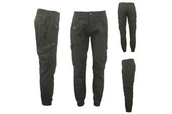 Men's Heavy Duty Cotton Drill 8 Pockets Tactical Work Cargo Pants w Elastic Hem - Dark Olive (Size:30)
