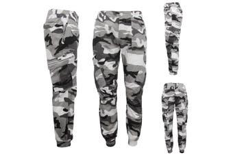 Men's Heavy Duty Cotton Drill 8 Pockets Tactical Work Cargo Pants w Elastic Hem - White Camo - White Camo