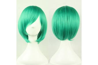 Womens Short 30cm Straight Synthetic BOB Wigs w Side Bangs Cosplay Costume Party - Green