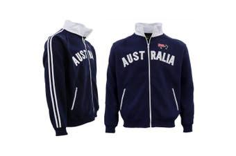 Adult Baseball Zip Up Jacket Australian Australia Day Souvenir Jumper Sweatshirt - Navy