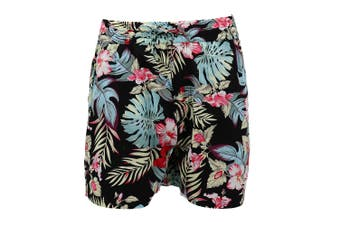 Men's Cotton Hawaiian Shorts Floral Beach Board Surf Swim Cascual Pants Summer - Black Tropic (100% Cotton) - 0