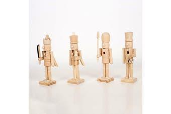 4x 14cm Wooden Christmas Nutcracker Soldier Figurine Puppet Toy Xmas Gift Décor